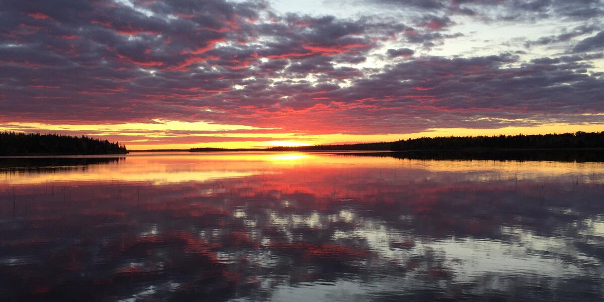 Sunset at over lake
